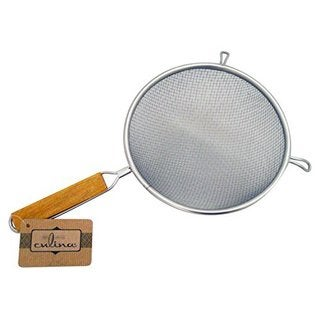 Culina Stainless Steel Double Mesh Strainer with Wooden Handle