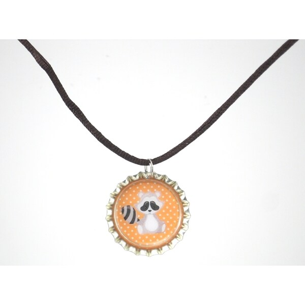 Be the Envy Raccoon Bottle Cap Necklace