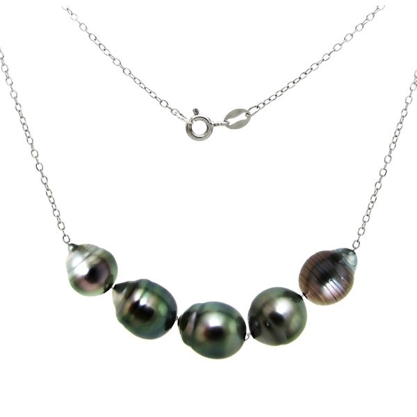 DaVonna Sterling Silver Black Baroque Tahitian Pearl Chain Necklace (8-10mm) 16512454