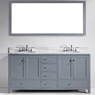 Virtu USA Caroline Avenue 72-inch Double Bathroom Vanity Cabinet Set in Grey