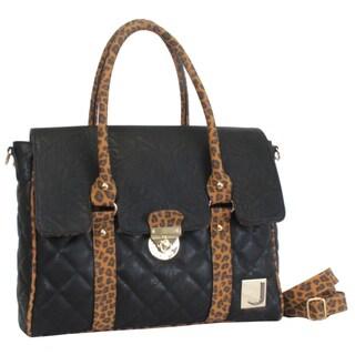 Joanel Quilted Animal Print Satchel Handbag