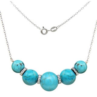 DaVonna Sterling Silver Blue Turquoise Howlite and CZ Chain Necklace (8-12mm)