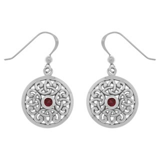 CGC Sterling Silver Created Ruby Celtic Knot Round Shield Trinity Dangle Earrings