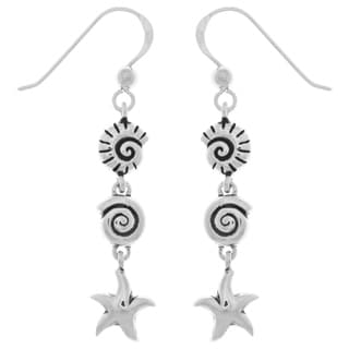 Carolina Glamour Collection Sterling Silver Seashell and Starfish Long Dangle Earrings