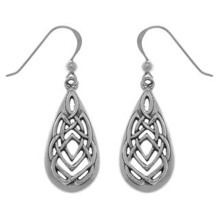 Carolina Glamour Collection Sterling Silver Celtic Knotwork Teardrop Dangle Earrings