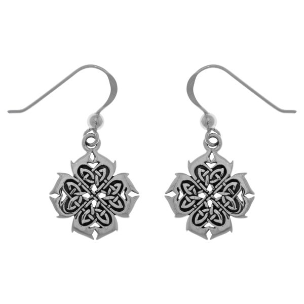 CGC Sterling Silver Celtic Knotwork Cross of Inspiration Dangle Earrings