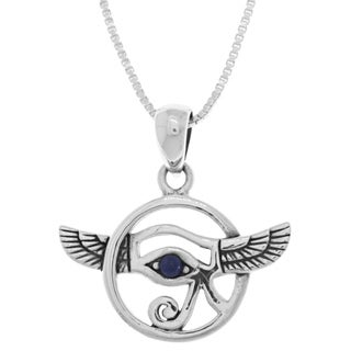 Carolina Glamour Collection Sterling Silver Created Blue Lapis Winged Eye of Horus 18-inch Necklace