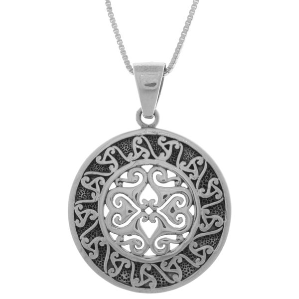 CGC Sterling Silver Celtic Triskele Sun Disc 18-inch Necklace
