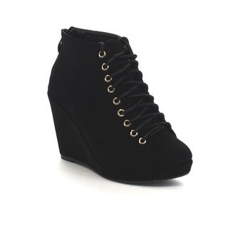 FOREVER FEW26 Women's Comfort Wedge Heel Lace Up Ankle Booties