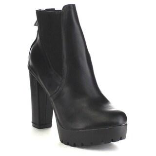 Breckelle's HANNA-11 Women's Platform Chunky Heel Lug Sole Chelsea Ankle Booties