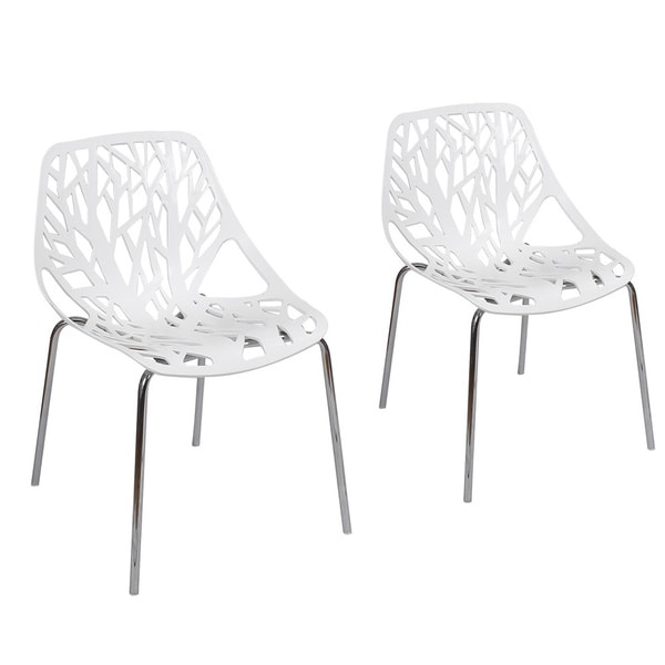 Adeco Cut-out Tree Design Plastic Dining Chairs with Chrome Legs Set of Two