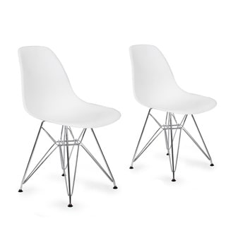 Adeco Plastic Side Chair with Chrome Legs (Set of 2)