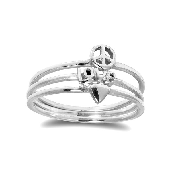 Heart Love Peace Triple Stackable Band Sterling Silver Ring (Thailand)