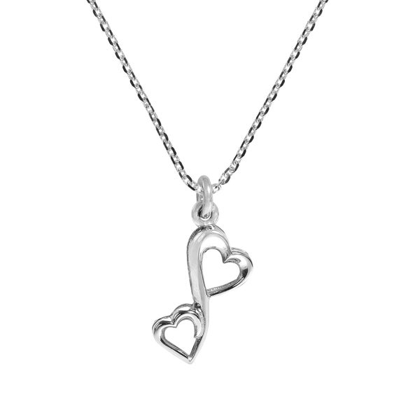 Infinity of Love Two Hearts .925 Sterling Silver Necklace (Thailand)