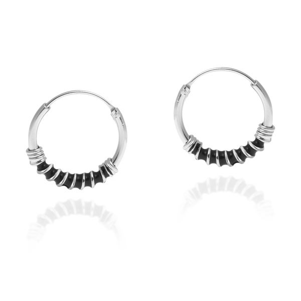 Everyday Bali Twist Rope 15mm Hoop Sterling Silver Earrings (Thailand)