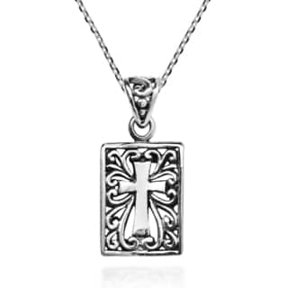 Double Sided Cross Cover .925 Sterling Silver Necklace (Thailand)
