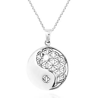 Yin Yang Balance Flower of Life Sterling Silver Necklace (Thailand)