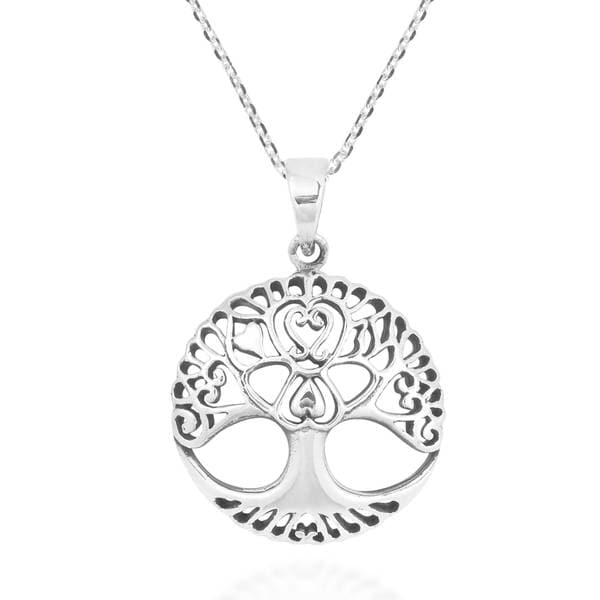 Handmade Enchanted Heart Tree of Life .925 Sterling Silver Necklace (Thailand) 16513373