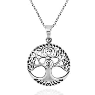 Enchanted Heart Tree of Life .925 Sterling Silver Necklace (Thailand)
