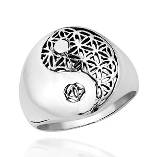 Yin Yang Balance Flower of Life .925 Sterling Silver Ring (Thailand)