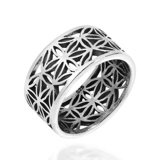 Eternity Flower of Life 10mm Wide Sterling Silver Ring (Thailand)