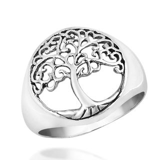 Love Swirls Tree of Life .925 Sterling Silver Ring (Thailand)