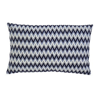 Embroidered Navy Throw Pillow