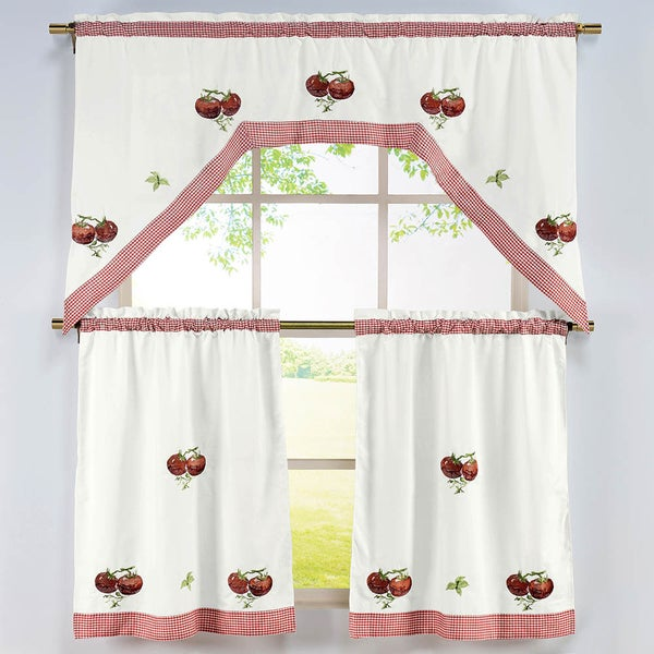 Tomato Pattern 3-piece Embroidered Kitchen Curtain Set