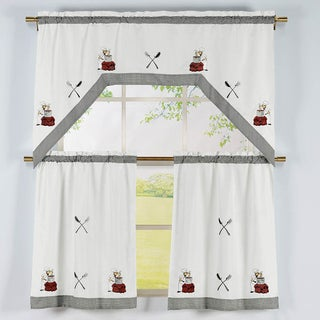 Cooking Chef Pattern 3-piece Embroidered Swag Valance and Tiers Kitchen Curtain Set