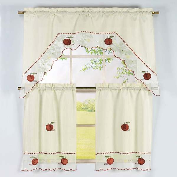 Apple Pattern 3 Piece Embroidered Kitchen Curtain Set