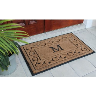 Hand-crafted Paisley Border Monogrammed Rubber and Coir Double Doormat (2'4 x 3'7)