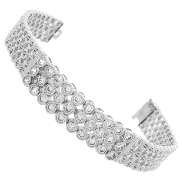 NEXTE Jewelry Brilliant-cut Cubic Zirconia Three-row Mesh I.D. Style Bracelet