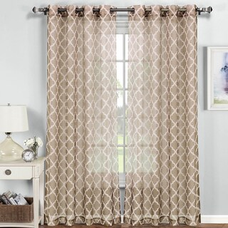 Modern Quatrafoil Printed Sheer Extra Wide Curtain Panel