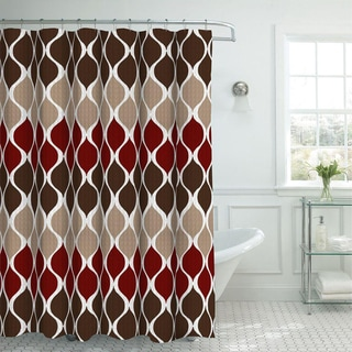 Oxford Weave Textured Shower Curtain With Metal Roller