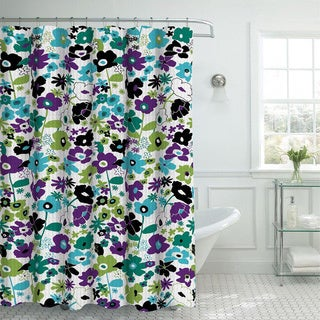 Oxford Weave Textured Floral Pattern Shower Curtain with Metal Roller Hooks in 2 Color Options
