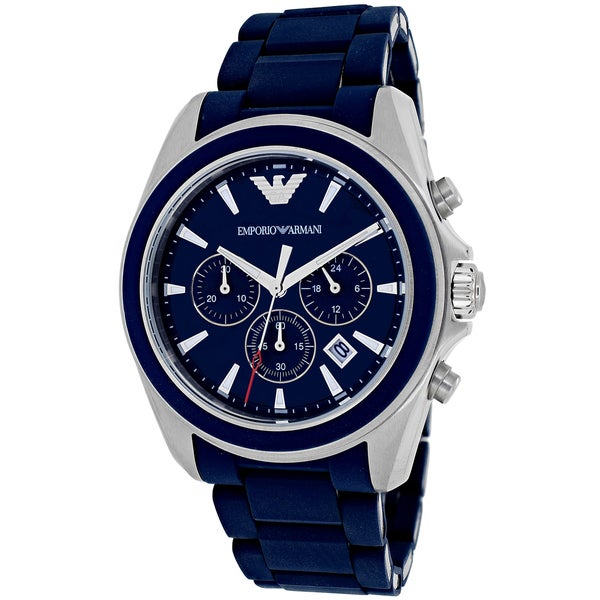 Emporio Armani Men's AR6068 'Sportivo' Chronograph Blue Rubber Watch