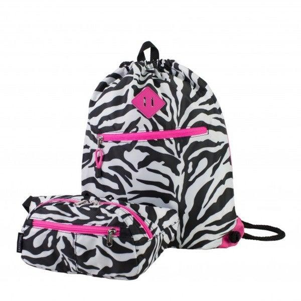 Eastsport Absolute Zebra Sport Belt Bag and Drawstring Backpack