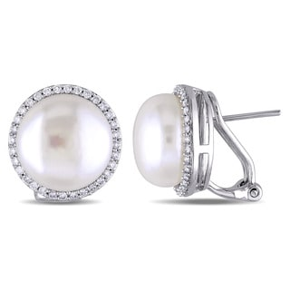 Miadora Signature Collection 14k White Gold Cultured FW Pearl 1/2ct TDW Diamond Stud Earrings (G-H, SI1-SI2)