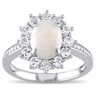 Miadora Sterling Silver Opal, White Topaz and 1/10ct TDW Diamond Halo Cocktail Ring (G-H, I2-I3)