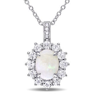 Miadora Sterling Silver Opal, White Topaz and Diamond Accent Halo Necklace