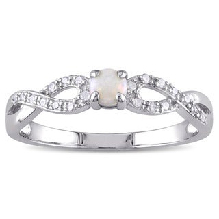 Miadora Sterling Silver Opal and 1/10ct TDW Diamond Infinity Ring (G-H, I2-I3)