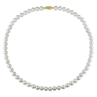 Miadora 14k Yellow Gold Cultured Akoya White Pearl Necklace (6-6.5 mm)