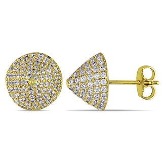 Miadora Yellow Plated Sterling Silver Cubic Zirconia Stud Earrings