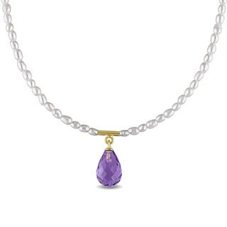 Miadora Yellow Plated Sterling Silver Cultured Freshwater Pearl and Amethyst Teardrop Necklace (1.5-2.5 mm)