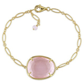 Miadora Yellow Plated Sterling Silver Rose Quartz Charm Link Bracelet