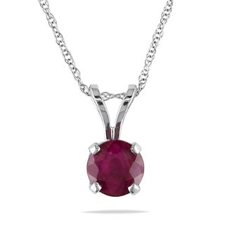 Miadora 14k White Gold Ruby Solitaire Necklace