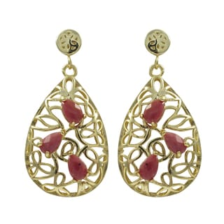 Gold Finish Sterling Silver Gemstone Filigree Teardrop Earrings