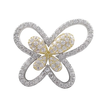 Two-tone Sterling Silver Cubic Zirconia Butterfly Brooch Pin
