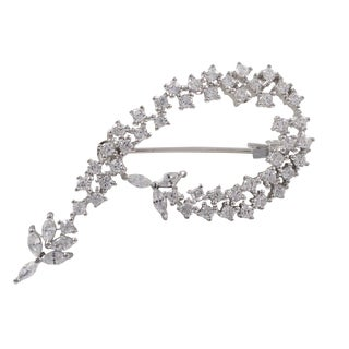 Sterling Silver Marquise Cubic Zirconia Brooch Pin