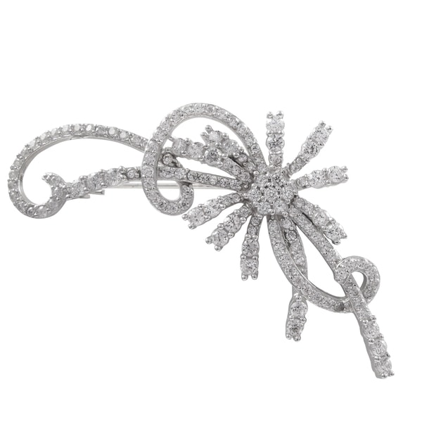 Sterling Silver Cubic Zirconia Floral Brooch Pin